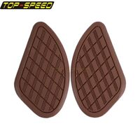 Motorcycle Gas Tank Traction Pad Side Knee Light Brown For Cafe Racer Universal