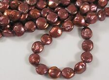 9 to 10 mm Pinkish Red Coin Freshwater Pearls, Flat Coin Pearl Beads (#94)
