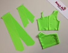 4 Pce Flo Green Lycra Dance Age 5-7 Shorts/Cropped Top Starter Beginner Practice