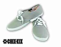 Womens Grey Canvas Shoes Lace Up Casual Sneakers Kicks Footwear Tennis Flats NEW