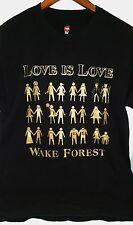 Wake Forest Love is Love T Shirt M Demon Deacons Gay Lesbian Duke Equality Gold