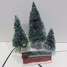 Holiday Village Figures, 3 Bottle Brush Trees + Brick Fence, Used no Box
