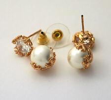 Pendientes perla y strass en plateado o dorado CALIDAD ENVIO ESPAÑA Ref. 21