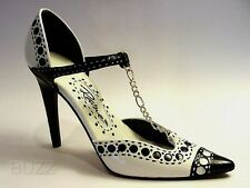 Spectator Black N White 30's Updated Sexy Heel Chain Accents Just The Right Shoe