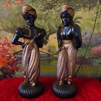 Vintage Antique Mid-Century Chalkware Blackamoor Warrior Statues Pair MCM Decor