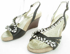 NEXT SOLE REVIVER SIZE 6 WOMENS BROWN SPARKLY STRAPPY ANKLE STRAPS WEDGES SHOES