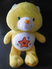 doudou peluche BISOUNOURS jaune Grostendre brodé étoile coeur CARE BEARS 29cm