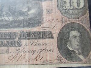 1864 Confederate States of America $10 Ten Dollars - Civil War Note