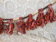 4 Ft Garland Wooden Beads Tassels Banner Red Plaid Fabric Prim Farmhouse Xmas