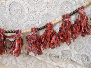 4' Xmas Garland Wooden Beads Red Plaid Fabric Tassels Mantel Tree Prim Handmade