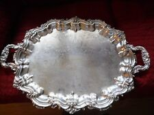 Antique Silverplate Butler Serving Tray by Poole 3214~Footed & Handles 26 x 18