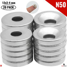 20pcs N50 12x3mm 4mm Screw Hole Strong Neodymium Ring Disc Countersunk Magnets