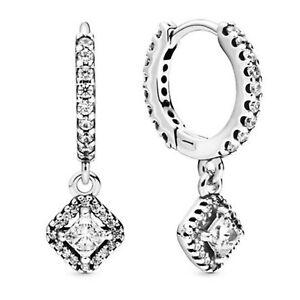 Square Sparkle Hoop Earrings 925 Solid Sterling Silver Dangling Huggies