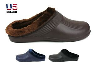 Mens Slippers Shoes Clogs Fleece Lined Warm Winter Rubber House Outdoor Non Slip