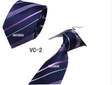 Checks Light Dark blue purple stripe  JACQUARD WOVEN 100% Silk Men's Tie Necktie