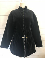 St. John Sport Womens Zip Up Velvet Velour Sweatshirt Jacket Black Sz Large