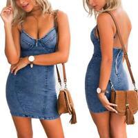 Summer Women's Bodycon Denim Jean Backless Mini Short Dress Party Evening Dress