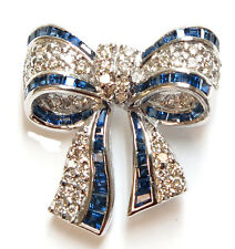 18K Solid White Gold Genuine Sapphire and Diamond Bow Pin
