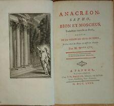 Anacréon Sapho Bion et Moschus traduction nouvelle en prose 1780 mit Kupfern