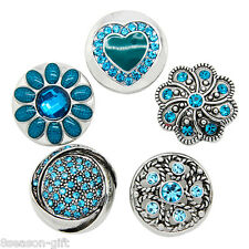 5PCs Mixed Snap Button Jewelry Charms with Blue Rhinestone Fit Snap Bracelet
