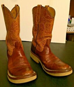 RIOS of MERCEDES Men's  Cowboy Western Boots Size 9? Tan & Light Brown Leather