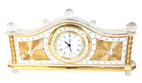 "Italian Capodimonte Porcelain RG Swarovski German Quartz Clock Limoges Gold 16"""
