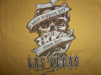 "Las Vegas ""What Happens Here, Stays Here"" Yellow Graphic Print T Shirt - L"