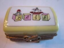 """LIMOGES """"FIRST TOOTH"""" TRINKET BOX - HAND PAINTED - 1 5/8"""" X 1 1/8"""" - FRANCE - TK"""