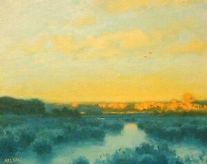 Last Light Wetlands Realism Landscape OIL PAINTING ART IMPRESSIONIST Original