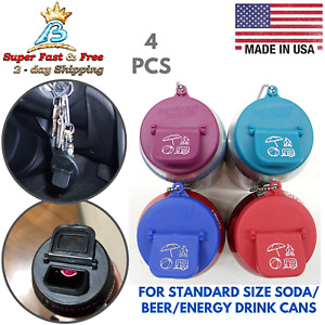 4 Pack Soda Pop Can Sippy Caps Beer Can Cover Energy Drink Cans Top Lid Keychain
