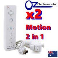 2 x Remote Controller Wiimote Motion Nintendo Wii & WiiU + Nunchuck NEW