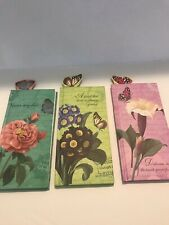 Flower Notebooks W/ Book Mark/Set Of 3 Hardback Cover With Blank Paper -New