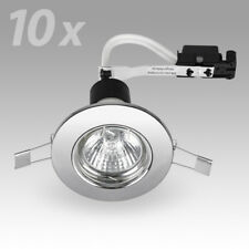 10 x Chrome Mains GU10 Recessed Ceiling Spot Light Spotlights Downlights Lights