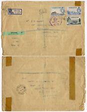 GIBRALTAR MILITARY FPO REGISTERED DEVILS TOWER CAMP 1954 6d + 4d +1/2d LARGE ENV