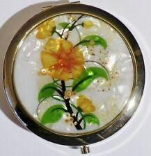 glace de sac bijou style vintage double miroir floral jaune couleur or