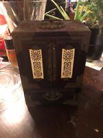 "Antique Vtg Asian Chinese Wood, Brass & Jade Jewelry Box w/Blue Silk Lining 10"""