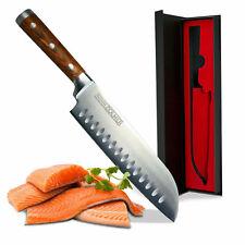 ZOLMER Santoku Messer Küchenmesser Kochmesser mit Griff aus Pakka Wood