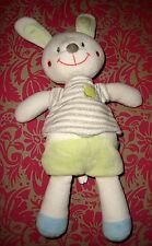 H # doudou peluche lapin blanc vert gris t shirt rayé NICOTOY 28 Cm TBE