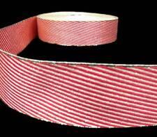 "5 Yds Christmas Metallic Red Gold Diagonal Candy Stripe Ribbon 1 1/2""W"