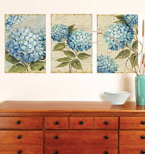 "WALLIES HYDRANGEAS wall stickers 3 big decals panels 8.5""x12"" flowers room decor"