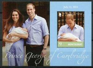 Montserrat Royalty Stamps 2013 MNH Prince George Royal Baby William Kate 1v S/S