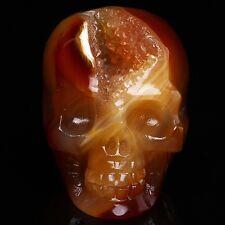 "2.3"" Natural Crazy Lace Agate Crystal Skull cave cluster Druse Laughter! DT4"