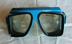 Vintage Isle Vista U.S. Divers Scuba Snorkel Mask Swim Goggles Blue Black