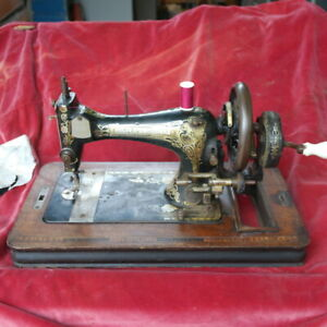 Vintage Frister Rossman Sewing Machine - Hand Turned. Ornate Top Cover.