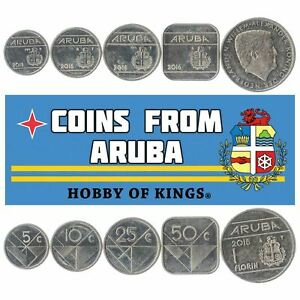 SET OF 5 COINS FROM ARUBA. 5, 10, 25, 50 CENTS, 1 FLORIN. 2014-2019