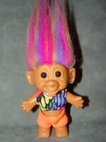 "Troll Doll  4 1/2"" By Bright Of America Swim Suit Rainbow Hair Ear Jewel"