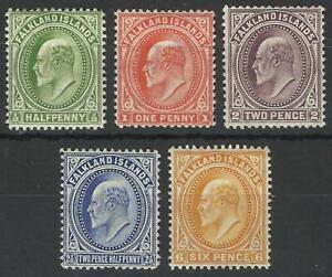 FALKLAND ISLANDS KEV11 1904-12 MINT