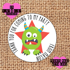 Personalised 24 monster party bag stickers sweet cone green mg birthday