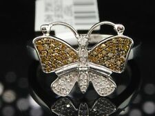 WOMENS WHITE GOLD CHAMPAGNE BROWN BUTTERFLY DIAMOND ENGAGEMENT RING WEDDING BAND