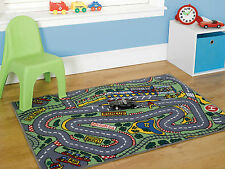 "Childrens Formula One Playmat Roadmap Racing Cars Rug in 80 x 120 cm (2'6""x4'0"")"